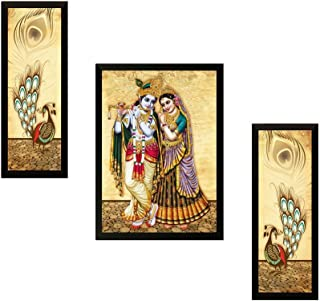 SAF DiWAli Gift UV Textured Radha Krishna Printed Framed Painting Synthetic