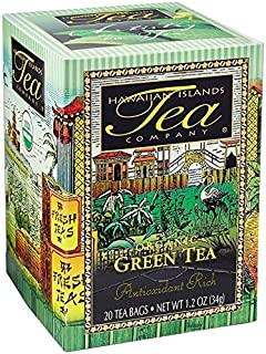 Certified Organic Green Tea, All Natural, 20 Teabags, Blended and Packed in Hawaii