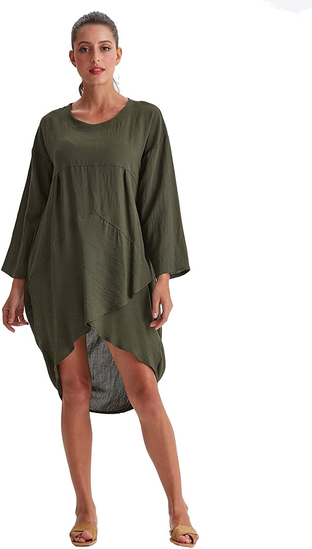 Amazhiyu Womens Long Sleeves Casual Midi Dress with Pockets Cotton Linen Unique Shape Tunic Dress for Autumn Summer