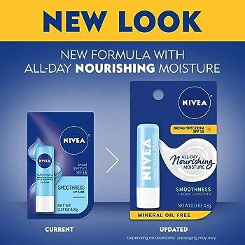 NIVEA Smoothness Lip Care SPF 15, 0.17 oz (Pack of 3)