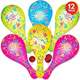 ArtCreativity Neon Paddle Balls, Pack of 12, 9.25 Inch Plastic Paddleball with String, Assorted Bright Colors, Great Party Favors, Goodie Bag Fillers, Fun Activity Toys for Kids