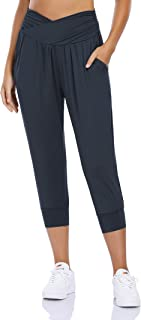 Sponsored Ad - Clearlove Women's Capri Pants with Pockets Joggers Yoga Workout Pants High Waisted Harem Lounge Sweatpants
