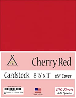 Cherry Red Cardstock - 8.5 x 11 inch - 65Lb Cover - 100 Sheets
