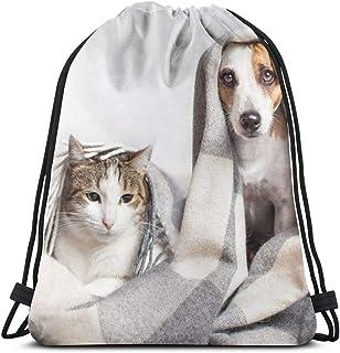 Osmykqe Mochilas con cordón Perro Gato Bajo Plaid Pet Warms Camping Sports Mochila al Aire Libre para Mujeres Hombres