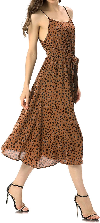 FFever Women's Leopard Print Sundresses, Tie Front Casual Midi Dress, Deep V Neck Sexy Dress, Strapped Empire Waist Dress