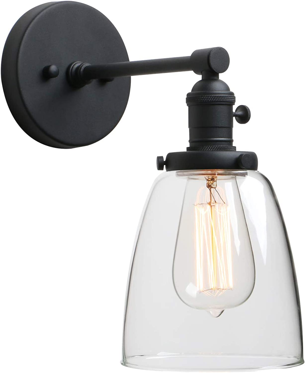 """Phansthy Industrial Wall Sconce Light 1-Light Black Sconce with 5.5"""" Dome Clear Glass Shade"""