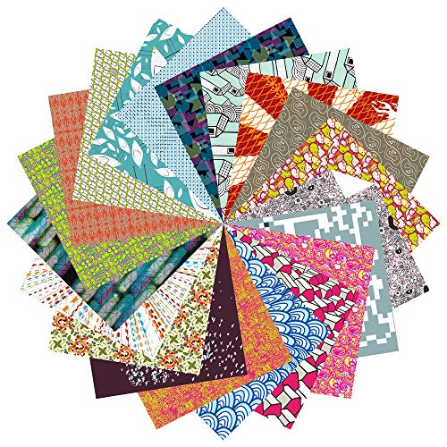 Folded Square Origami – Conjunto de Regalo de Papel para Papiroflexia | 200 Hojas, 15cm Cuadrado | Estampados de Diseño (Colección completa)