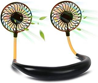 最新版 首掛け 扇風機 ハンズフリー usb充電式 扇風機 携帯扇風機 ミニ 卓上扇風機 7枚羽根 風量3段階調節 7色LEDライト機能付き アロマ機能 2000mAh超大容量 360°角度調整 静音 ダブルファン 熱中症対策 (ブラック)