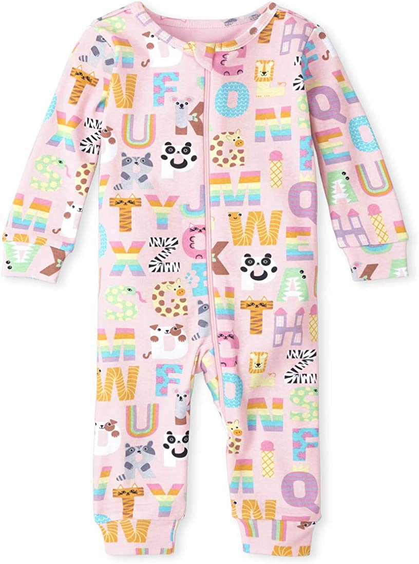 The Children's Place Baby and Toddler Girls ABC Animal Snug Fit Cotton One Piece Pajamas