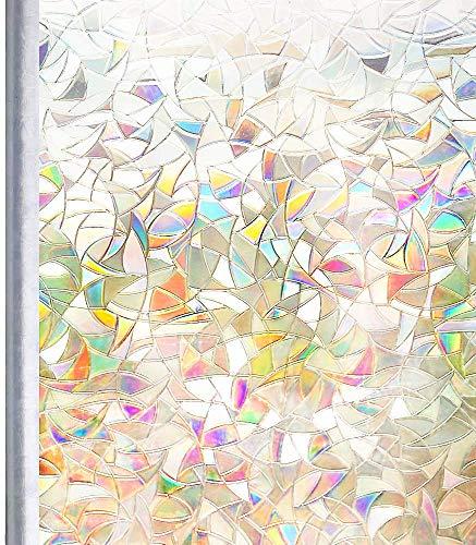 Homein ステンドグラスシール 窓ガラス 目隠しシート おしゃれ窓フィルム 装飾 uvカツト 光に当たると虹色の輝きでキラキラ 結露防止 ガラス飛散防止 水で貼る 剥がせる めかくしシート 簡単貼り付け 網入りガラスも適用 44.5x200cm