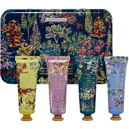 Heathcote & Ivory The Enchanted Forest Travel Collection Hand Cream, Shower Gel, Body Lotion and Body Polish in Tin, 344 g