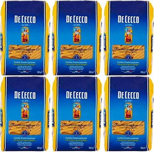De Cecco - Penne Piccole Rigate n°117, Pasta di Semola di Grano Duro - 500 g x 6 Confezioni
