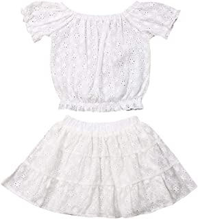 092f85bd62c7 Baby Girl 2pc Outfits Sunflower Lace Cotton Crop Top+Skirt Summer Clothes  Set