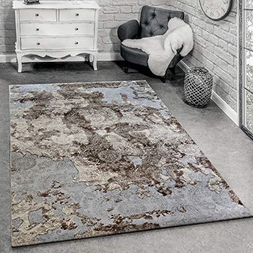 Paco Home Tapis De Créateur Moderne Tapis De Salon Décoration Florale Gris, Dimension:80x150 cm