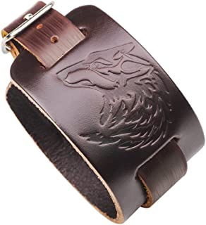 Cyndie Chic Wolf Head Embossing Leather Bracelet Rock Wind Hand Chain Ornament Gift