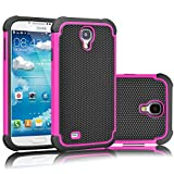 Tekcoo for Galaxy S4 Case, [Tmajor Series] [Hot Pink/Black] Shock Absorbing Hybrid Rubber Plastic Impact Defender Rugged Slim Hard Case Cover Shell for Samsung Galaxy S4 S IV I9500 GS4 All Carriers