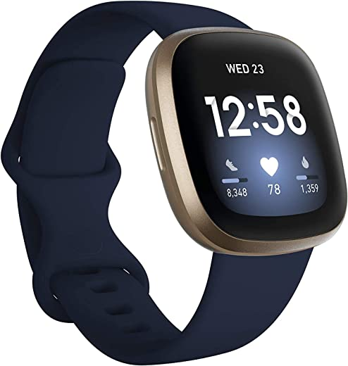 Fitbit Versa 3 Health & Fitness Smartwatch W/ Bluetooth Calls/Texts, Fast Charging, GPS, Heart Rate SpO2, 6+ Days Battery (S & L Bands, 90 Day Premium Included) International Version (Blue/Gold)