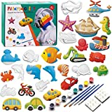 KODATEK 55 Pieces Kids Crafts and Arts Set Painting Kit Painting Your Own Figurines, for Real Painting Ready to Paint Figurines Craft Kit Magic Painting Plaster Art & Creativity Set for Boys and Girls