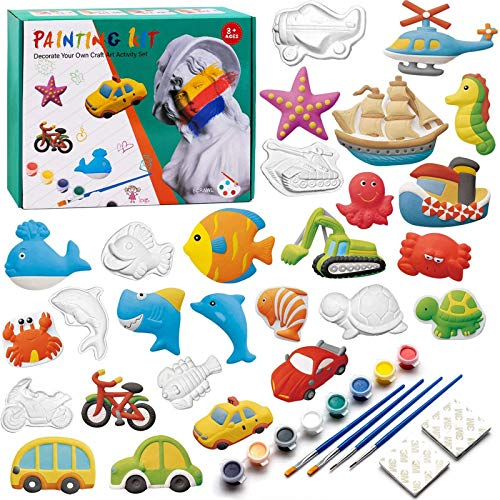 KODATEK 55 Pieces Kids Arts and Crafts Set Painting Kit Painting Your Own Figurines, for Real Painting Ready to Paint Figurines Craft Kit Magic Painting Plaster Art & Creativity Set for Boys and Girls