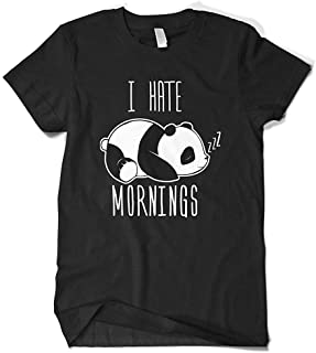 I Hate Mornings Panda Bear Men's Round Neck T-Shirt,Colored Printing Casual Short Tee (Color : Black, Size : M)