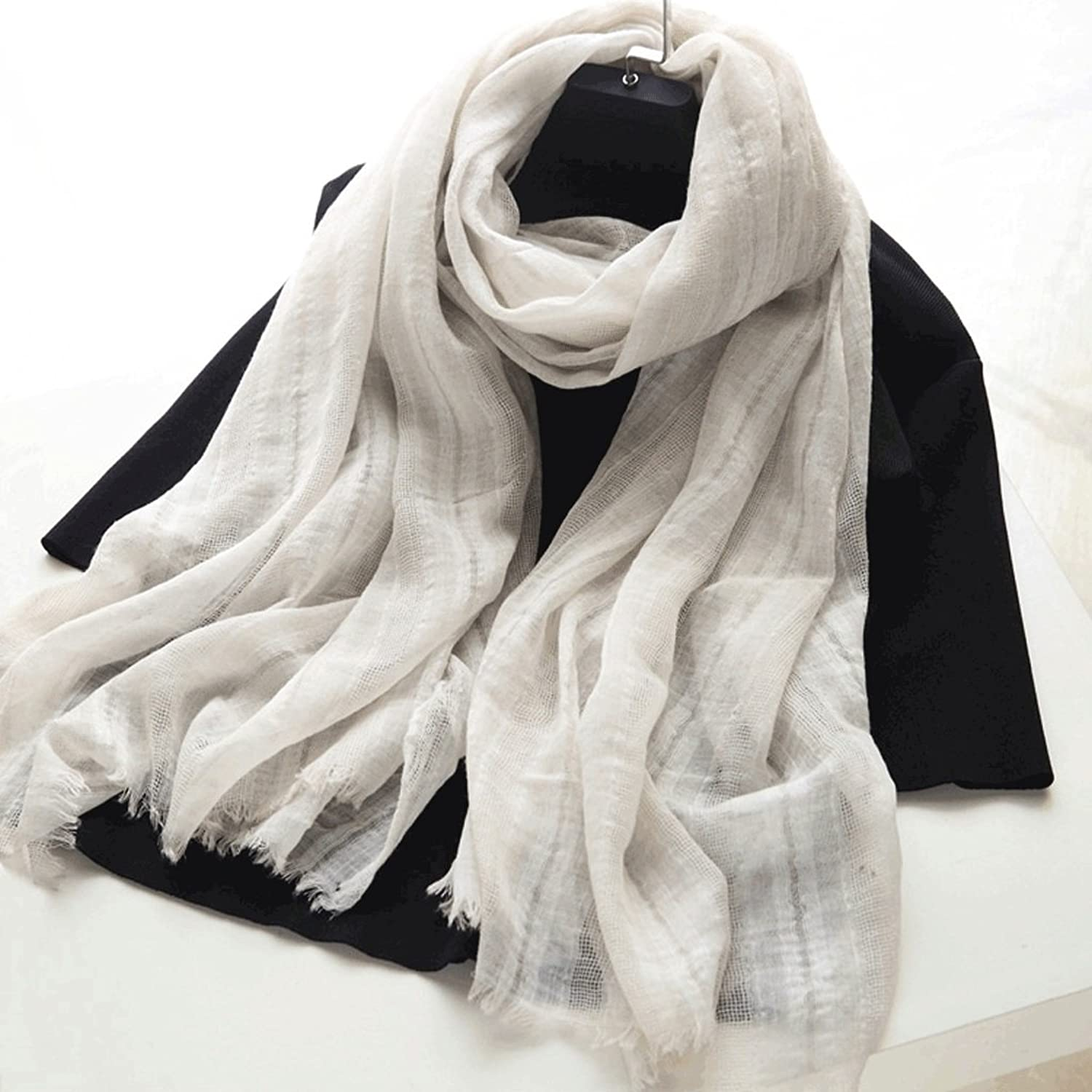LBY Pure Cotton Linen Blend Scarf Shawl Winter Warm Literary Female Scarf 92  190cm Scarf (color   C)