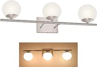 YHTlaeh New Bathroom Vanity Light Fixtures Brushed Nickel Glass Shade Three Light Modern Wall Bar Sconce Over Mirror