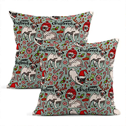 Zynii Pillowcase Pug Dog Merry Christmas Seamless Pattern Decorate Your Room and Living Room to Bring You Comfort as a Gift for Relatives and Friends