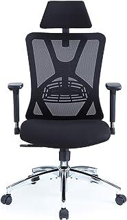 Ticova オフィスチェア 人間工学椅子 調節可能 な腰サポーとヘッドレストと 3D金属製アームレスト付き 厚手 座面 130度リクライニングチェア 搖りチェア パソコンチェア デスクチェア ハイバック事務椅子 メッシュチェア