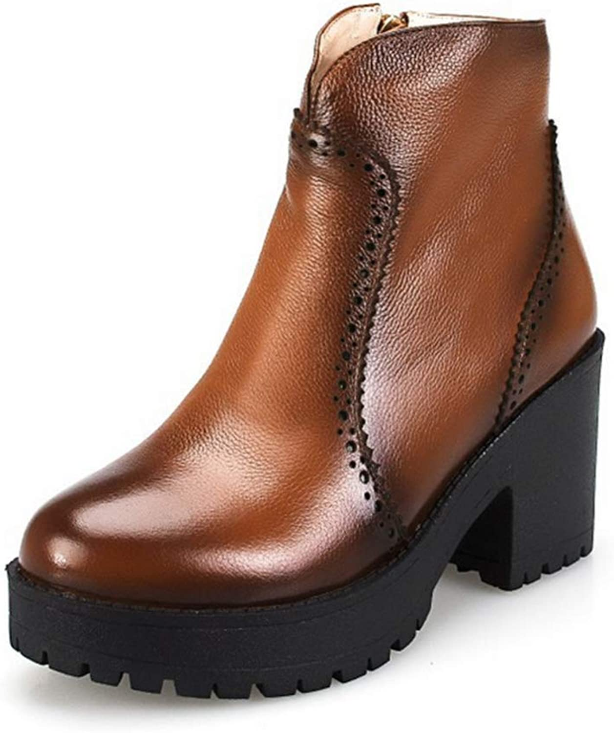 Shiney Women's Genuine Leather Ankle Boots color Leather Low Tube Martin Boots Fall Winter