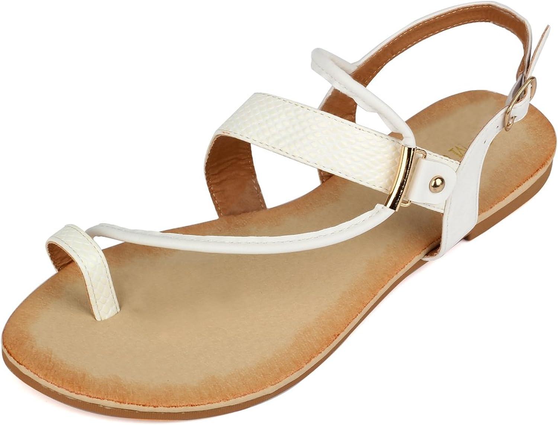 MuDan Women's Thong Flat Gladiator Summer Sandals