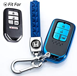 121Fruit Way for Honda Key Fob Cover, Key Fob Case for Honda Accord Civic CRV Pilot Odyssey Smart Premium Soft TPU Full Cover Protection Smart Remote Keyless Key Fob Shell,Blue