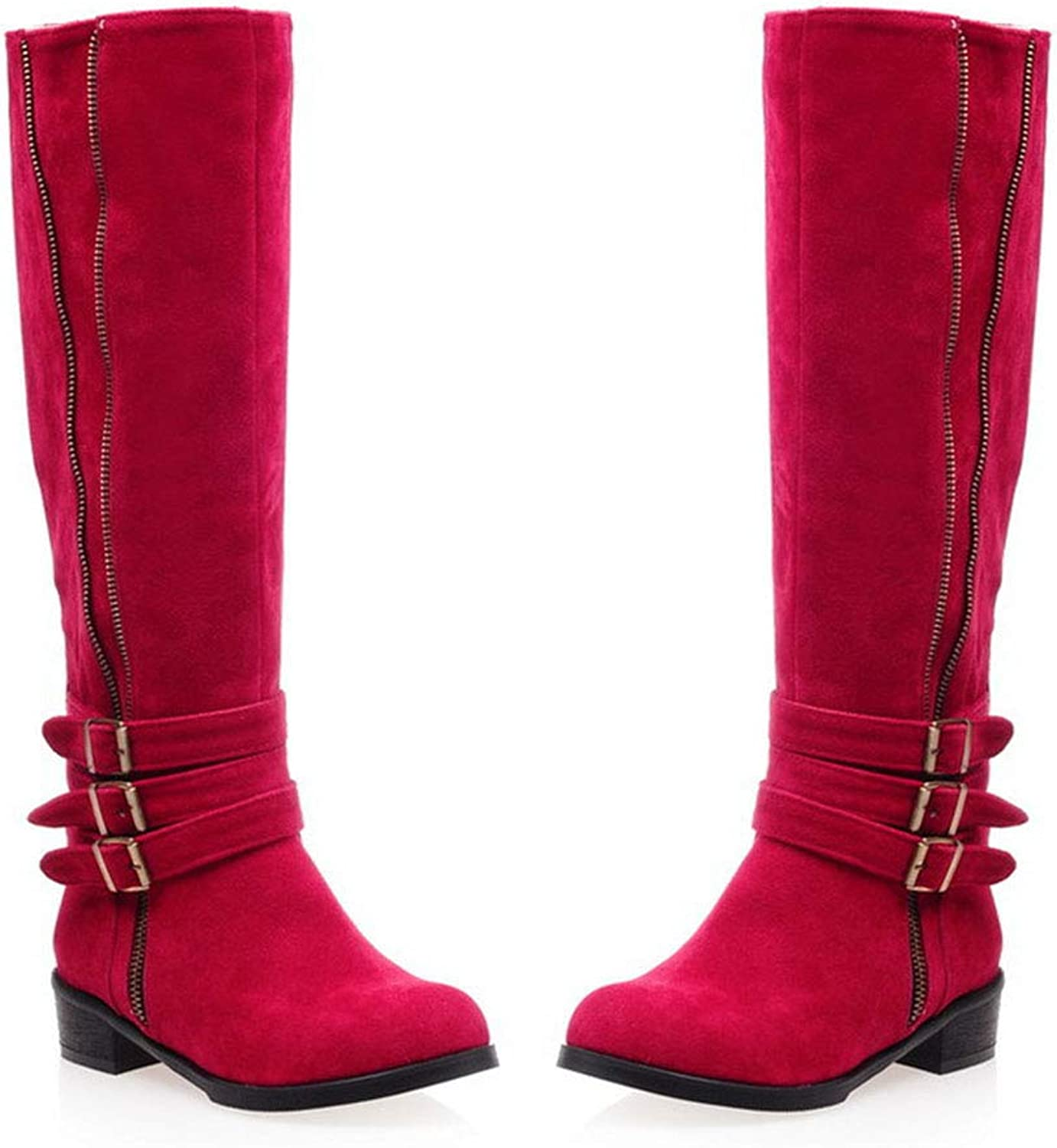 Round Head Buckle Zipper Female Boots Long Tube Fang He Knight Boots