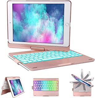 iPad Keyboard Case for iPad 6th gen - iPad 5th gen- iPad Pro 9.7- iPad Air 2- Air, 360 Degree Rotatable -Auto Sleep Wake- Wireless Bluetooth Backlit Keyboard Case with Pencil Holder (Rose Gold)