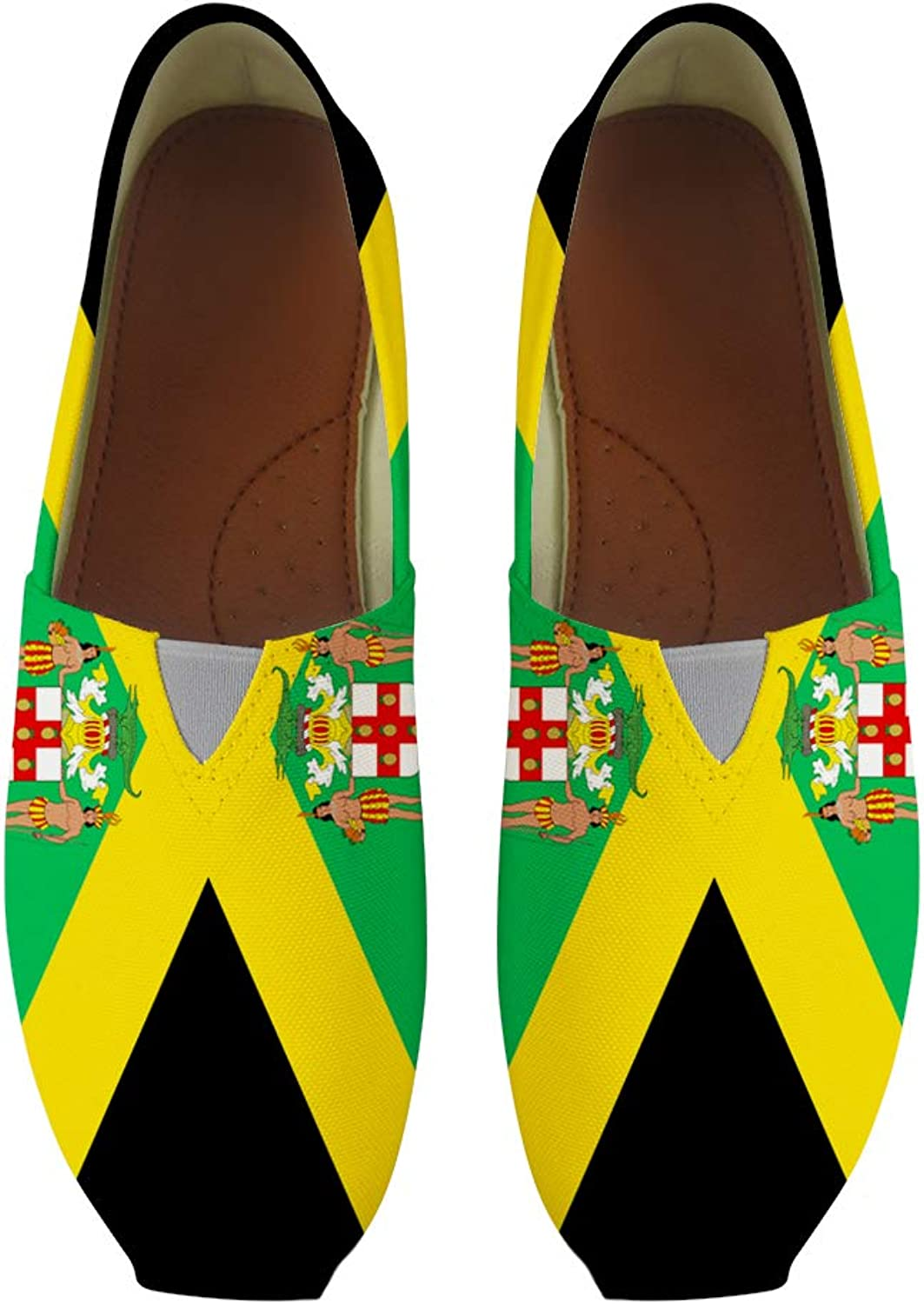 Owaheson Classic Canvas Slip-On Lightweight Driving shoes Soft Penny Loafers Men Women Jamaica Flag National Emblem