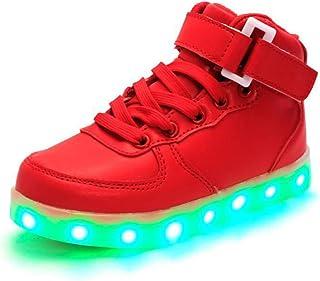 [JIN+] 子供ファッション靴ハイトップLEDライトUSB充電点滅スニーカー男の子女の子カジュアルGlowing靴