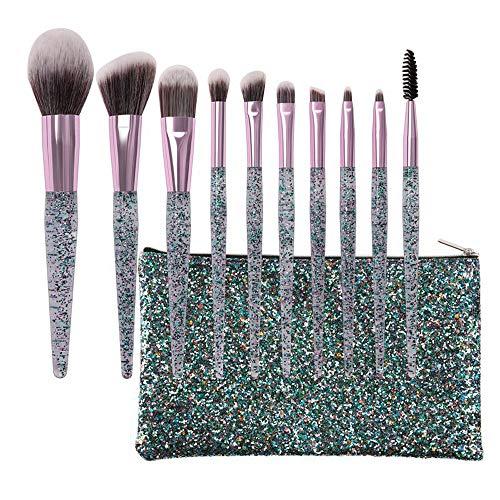Pinceaux 10pcs pinceaux cosmétiques brillant cristal sables mouvants acrylique poignée pommeau nylon maquillage outil outil fard à paupières blush pinceau Beauté du visage