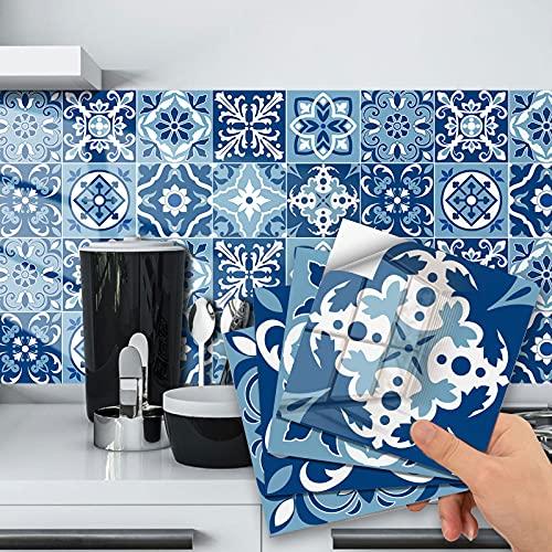 Adhesivo de tela para cuarto de baño y cocina, 20 piezas autoadhesivas de Mosaico, azulejos de pared azules cuadrados impermeables, azulejos de bricolaje para decoración del hogar (15 x 15 cm)