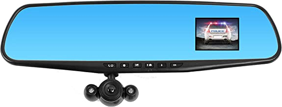 """Official HD Mirror Cam – As Seen on TV Dash Cam 350°, Motion Detection, 2.5"""" LCD, 720P HD, Dashboard Camera Video Recorder with Micro SD Card, Loop Recording, Night-Mode (16GB)"""