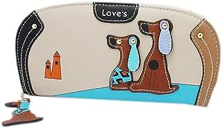 Women Clutch Wallet,Welegant Puppy & Dog Long Purse Organizer with Card Holder & Zipper Continental (Beige)