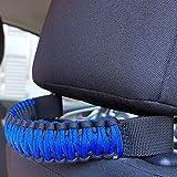 Headrest Grab Handles fit for Jeep Wrangler TJ JK JL Land Cruiser FJ Suzuk,Grab Handle for Jeep Wrangler,Hand Made Seat Mount Grab Handl,Heavy Duty,2pcs Black/Blue