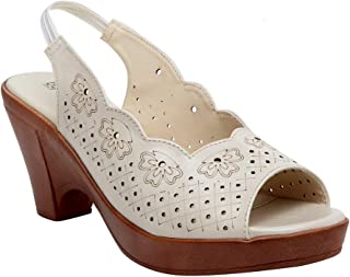 Butterflies Steps Latest Collection, Comfortable Heels Sandal for Women's & Girl's (Cream) (GHS-0030CRM)