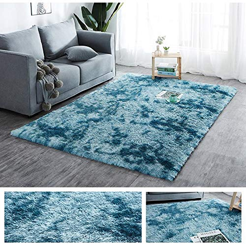 Creative Rainbow Color Plush Super Soft and Comfortable Carpet, Bedroom and Living Room Winter Insulation Non-Slip and Easy-Care Carpet (Color : Blue, Size : 2.6'x3.9')