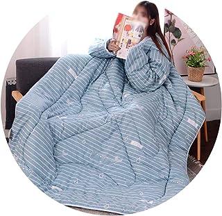 Comfortable Home Colcha edredón - cálido y Suave - Lazy Colcha con Mangas - Acolchado con la Pluma de algodón Lavable a máquina 150 × 200 cm,Azul