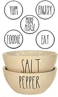Rae Dunn SALT & PEPPER Mini Seasoning Bowls Large Letter LL and Coordinating 5 Fridge Magnets Gift Set (Salt/Pepper)