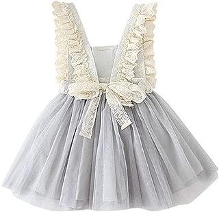 Áo quần dành cho bé gái – Girl Vintage Lace Bib Tulle Tutu Bow Eyelet Princess Party Dress