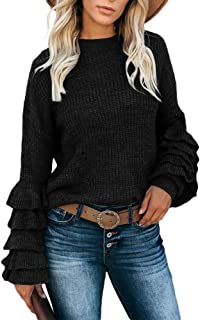 Womens Ruffle Layers Sweatshirt Puff Sleeves Drop Shoulder Knitted Pullover Top