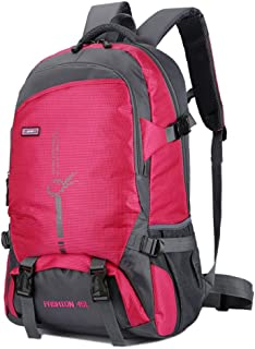 Mden Waterproof Hiking Backpack Travel Daypack Backpacks for Laptop Outdoor Camping Traveling Backpacking(45L, Rose Red)