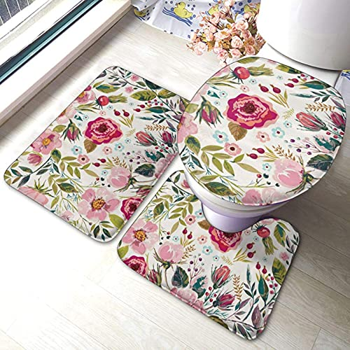 Juego de alfombras de baño de 3 piezas de hojas de flores impresas suaves absorbentes antideslizantes almohadillas de baño de contorno de tapa de inodoro