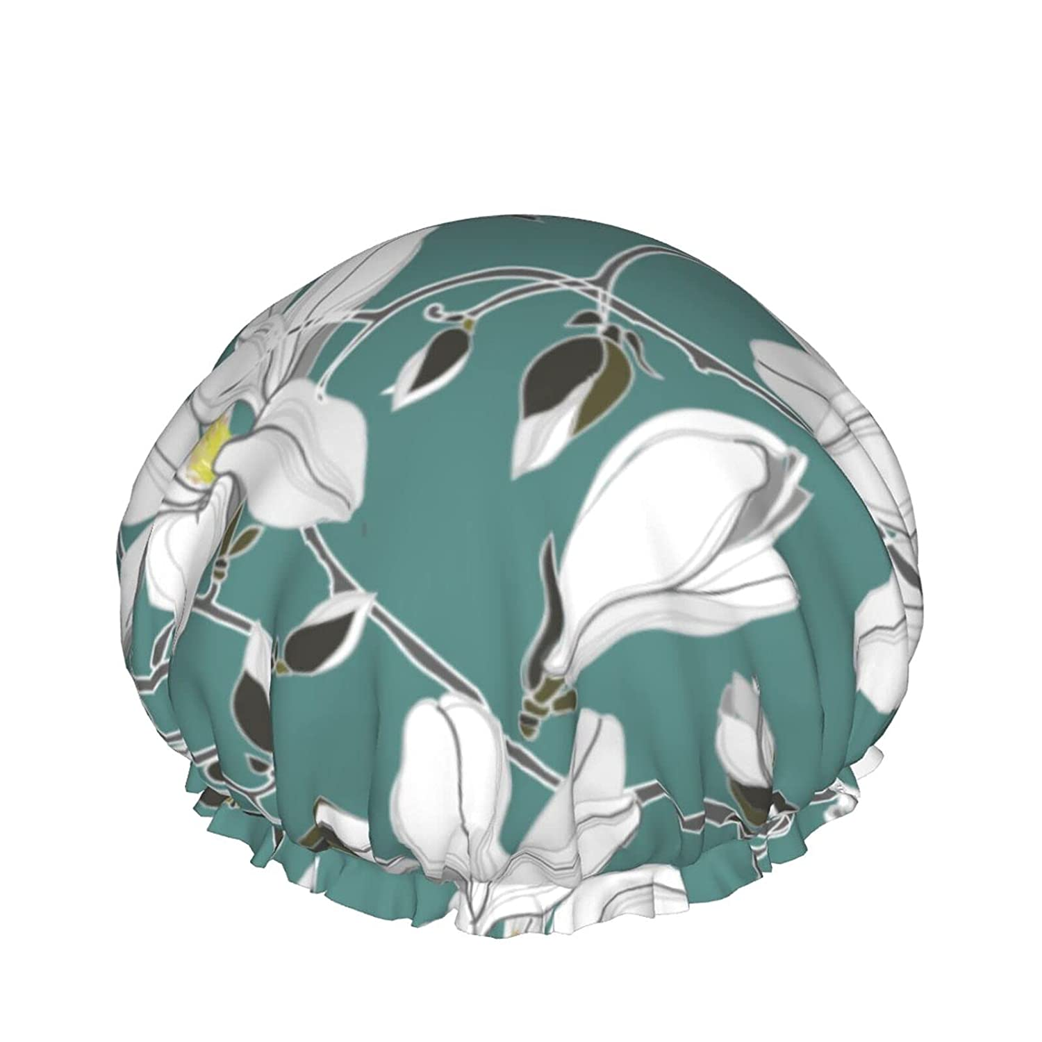 Double Layers Easy-to-use Shower Cap Vector On Year-end gift Texture Green Pattern Floral