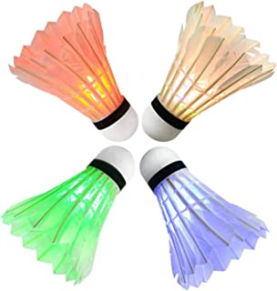 LED Badminton Shuttlecock, Arespark Dark Night Colorful LED Lighting - Glow Birdies Lighting- For Outdoor & Indoor Sports Activities, 4-Piece